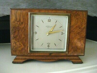 Art Deco 8 Day Burr Walnut Mechanical Mantel Mantle Clock By Elliot. Restoration