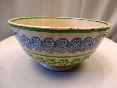 Small Late 19Th Century Sponge Ware Bowl Decorated With Two Colours Porcelain *