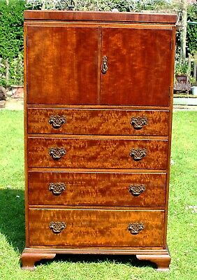 """WARING & GILLOWS MAHOGANY Chest of Drawers (4) Top Cupboard~ 50 """" Tall~Tallboy"""