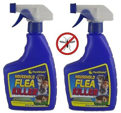 2 x Flea Killing Spray For Cat Dogs Bed Kennel Carpets Home Flea Treatment 500ml