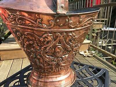 Antique arts crafts RAPOUSSE COPPER EMBOSSED DRAGONS COAL SCUTTLE bucket HANDLE
