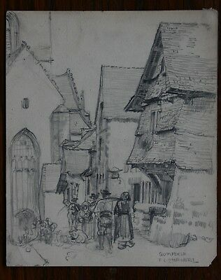 Quimperle, Brittany, France original graphite drawing by Frank L Emanuel c 1920