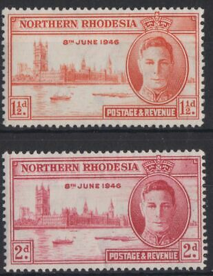 g733) Northern Rhodesia 1946 MM SG 46a,47 Victory Omnibus Issue. Royalty c£14+.