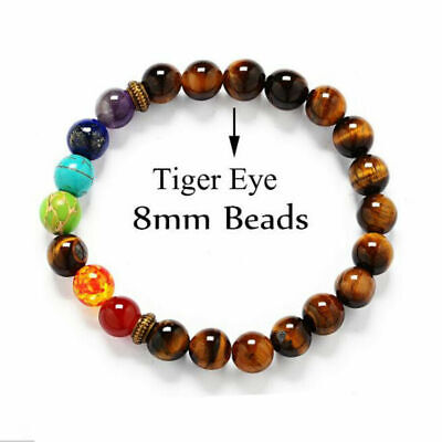 1pcs 7 Chakra Healing Balance Beaded Bracelet Natural Stone Yoga Reiki Prayer B2