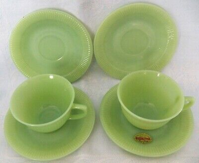Vintage Anchor Hocking Fire King Jane Ray Jadite Lot of 2 Cups & 4 Saucers
