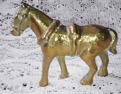 "RARE & COLLECTABLE ANTIQUE SOLID BRASS WORKING HORSE WITH YOKE 2.625"" h x 3.25"""