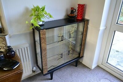 Vintage Mid-century Glass Display Cabinet Sideboard - 1950s 60s Atomic Retro