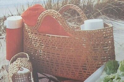 Vintage Weaving withvRaffia Macrame Pattern Beach Basket  Reproduced