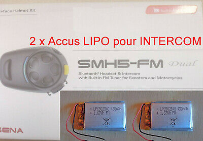2 Batteries pour Intercom SENA SMH5 -FM LP432543 accumulateur LiPo Casque moto