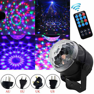 RGB LED Laser Light Projector Party Club DJ Disco Auto Stage Crystal Ball+Remote