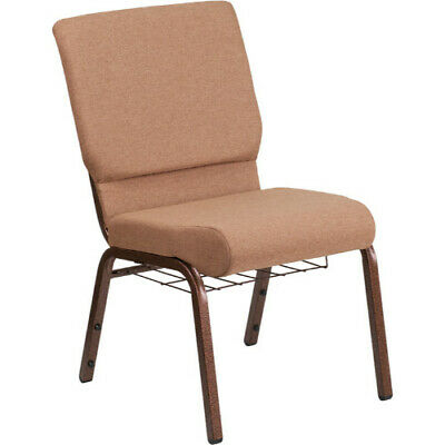 HERCULES Series 18.5''W Caramel Fabric Church Chair with 4.25'' Thick Seat, Cup