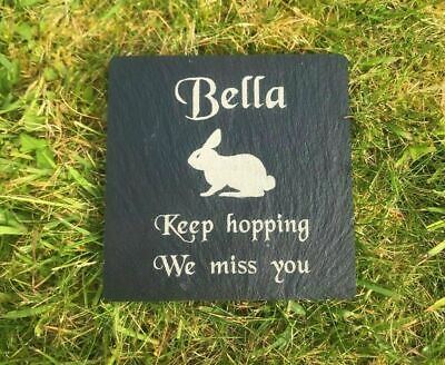 Personalised Engraved Slate Stone Pet Memorial Grave Marker Plaque for a Rabbit