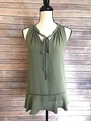 New Olive Green Peplum Tunic Tie Front V-Neck Blouse Sheer Chiffon Pussybow Top