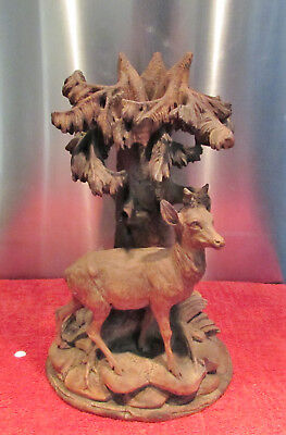 Antique Swiss Black Forest Walnut Deer Carving