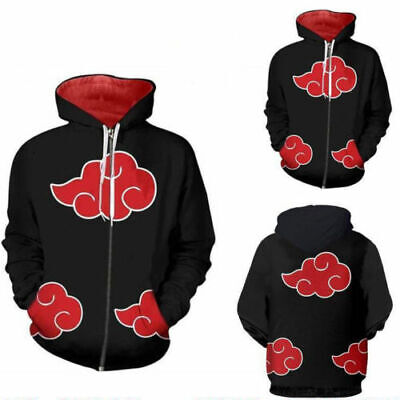 Naruto Akatsuki Hoodie Pull Over Jacket Sweater Shirt Coat Cosplay Costume ZG