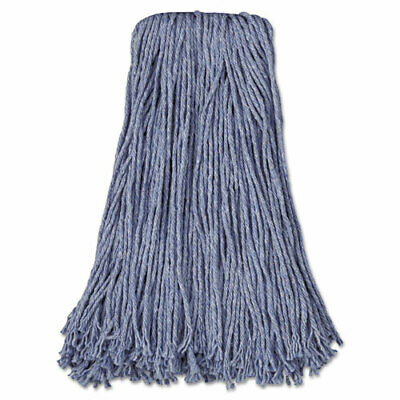 Mop Head, Standard Head, Cotton/Synthetic Fiber, Cut-End, 20oz, Blue, 12/Carton