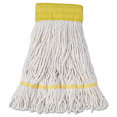 Mop Head, Super Loop Head, Cotton/Synthetic Fiber, Small, White, 12/Carton