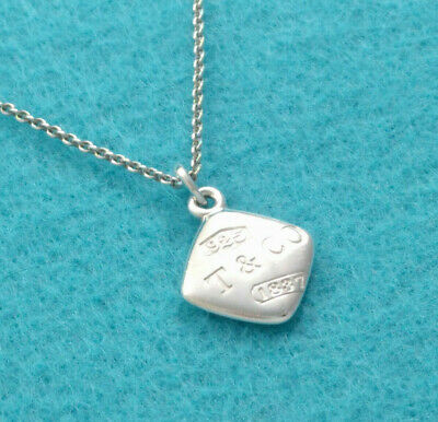 Tiffany & Co. 1837 Square Charm Pendant Necklace Sterling Silver 925, F/S