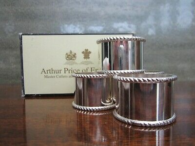 4 Silver Plated Napkin Rings Arthur Price Of England