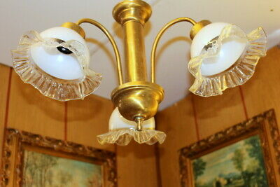 Vintage light Brass Ceiling Lamp/Chandelier Smoky paraffin Glass shade 50% OFF