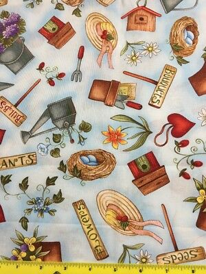 1-3/4 YD Cottage Garden Fabric Hats Blue Bird Gardening  CLOTHWORKS  Diane Knott