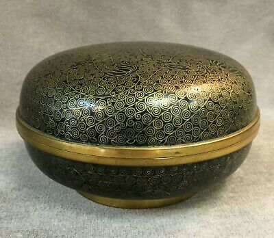Antique Chinese Black Cloisonne Enameled Covered Round Box