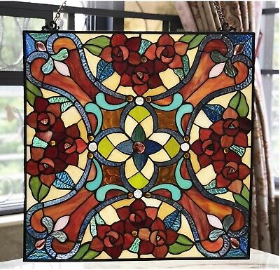 """20"""" x 20"""" Round Amber Delight Tiffany Style Stained Glass Window Panel"""