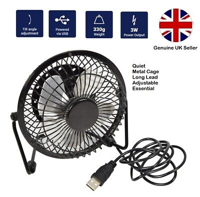 "USB Fan Metal 4""  Ultra Quiet Safe For BOAT CARAVAN VW CAMPER VAN Motorhome"