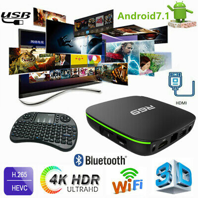 R69 Smart Home TV Box H3 Quad Core Wifi HD Android7.1 USB Media Player+ Keyboard