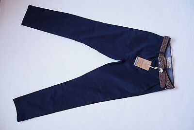 X Next Navy Jeans Trousers With Belt 26 S Short Chino Stretch Skinny
