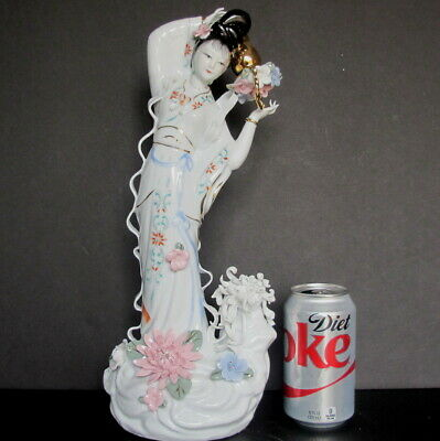 "Large Chinese Lady Woman Porcelain Figurine Statue with Flowers 15"" tall"
