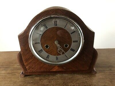 Vintage Smiths Mantle Clock. Smiths Enfield 8 Day Chiming In GWO . C:-1940s Oak