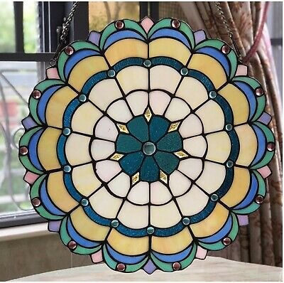 """18"""" x 18"""" Victorian Starlight Tiffany Style Stained Glass Window Panel"""