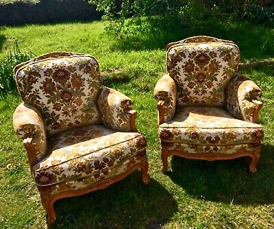 Vintage French Louis XV style Armchairs (2) Matching 3 seat Sofa Bed available.
