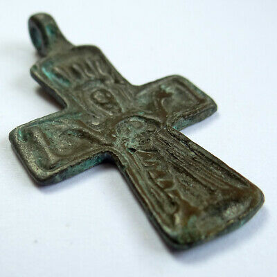 Ancient Artifact Bronze Medieval Cross With Saint