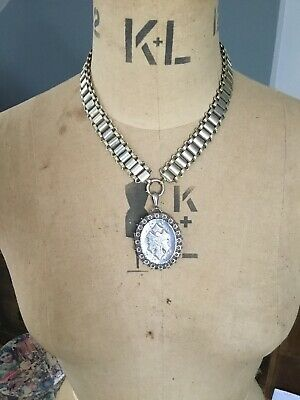 Antique Victorian Book Chain Necklace And Forget Me Not Locket