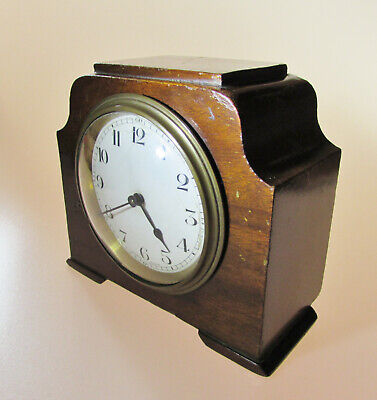 Interesting small antique wooden French mantel clock by Duverdrey & Bloquel