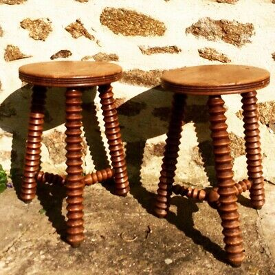 Pair Of Decorative French Wooden Carved Stools