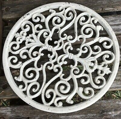 "Antique Ornate Round 11"" Cast Iron Architecture Salvage White Shabby Wall Decor"