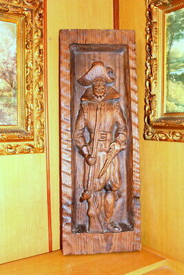 Carved Wooden Antique French Vintage Wall Plaque Art Decor All Posh for Sale