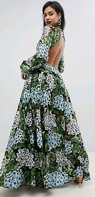45969e7234 ASOS EDITION Open Back Green Blue White Black Floral Embroidered Maxi Dress  UK 8