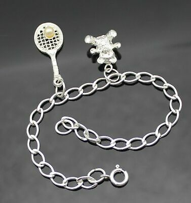Highly Polished 3D Teddy Bear Tennis Racket Charms Sterling Silver Bracelet 7""