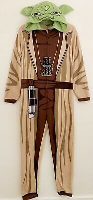 XL L NWT STAR WARS Men/'s Brown//Green Yoda Zip Front Hooded Union Suit S