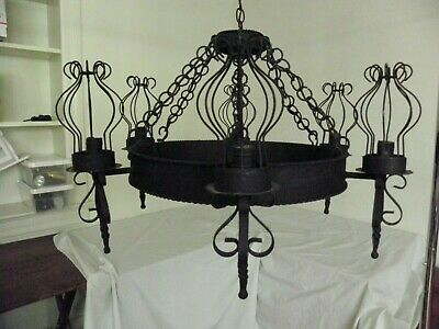 Spectacular Vtg. Spanish Revival Rustic Antique Wrought Iron 6 Light Chandelier
