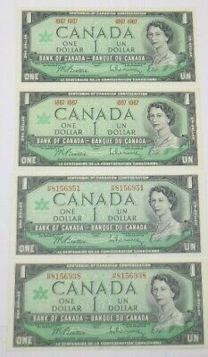 4 Canadian $1.00 Dollar 1867-1967 (1967) Issue Centennial Queen Elizabeth Unc