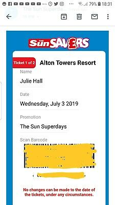 Alton Towers tickets for 3rd July 2019.  Two tickets for adult or child.  Worth