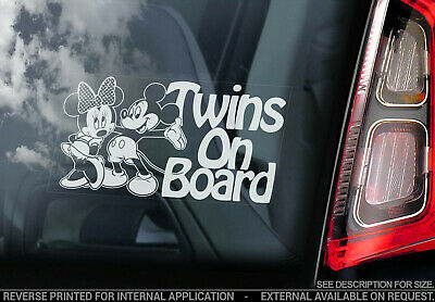 Twins on Board - Car Window Sticker- Brother Sister Child Mickey Mouse Decal V05