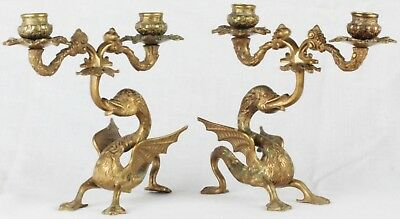Rare French Pair Antique Bronze Brass Winged Dragon Double Candelabra Candlestic