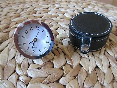 Steel Travel Alarm Clock with Leather Case