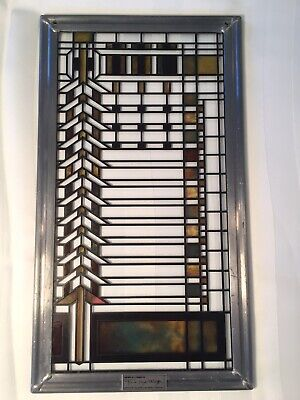 Frank Lloyd Wright Foundation Stained Glass Window Panel Prairie Geometric 11x6